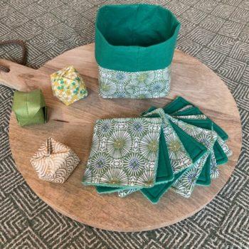 Lingettes lavables et panier -Wax Vert