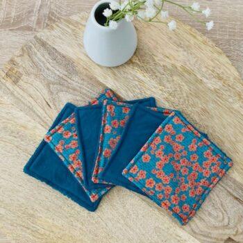 Lingettes lavables – fleurs bleues