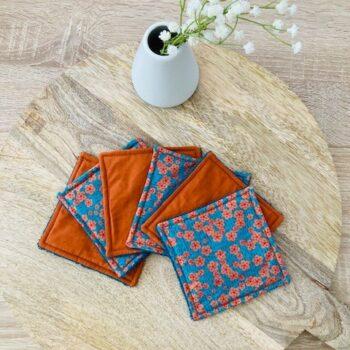 Lingettes lavables – Fleurs orange