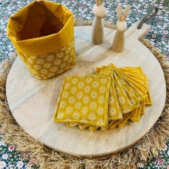 Lingettes lavables et panier – jaune d'or