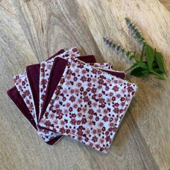 Lingettes lavables- fleurs rouges